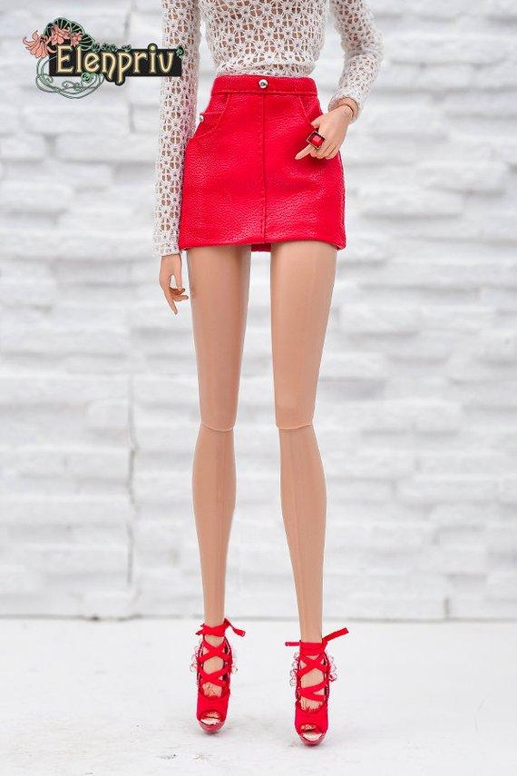 ecf9557cb1 ELENPRIV red leather mini skirt for Fashion royalty FR2 and similar body size  dolls
