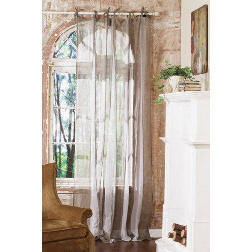 Linen And Cotton Tie Tab Curtain Beige And White By Creative Co