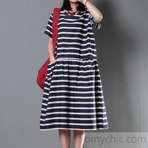 36a88a88197 Striped cotton sundress plus size linen maxi dress summer maternity dress