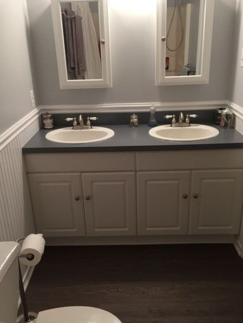 How To Paint Vinyl Bathroom Cabinets master bath after behr white metal allure vinyl flooring | easy