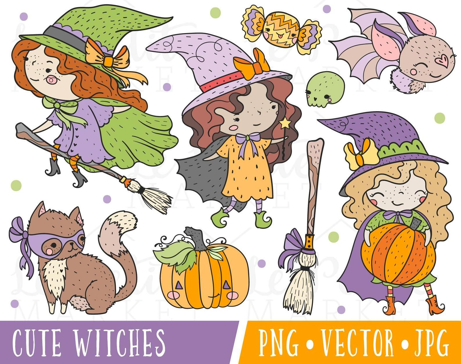 Cute Witch Clipart Images Cute Witch Clip Art Doodle Halloween Clipart Halloween Illustrations Cute Halloween Witches Clip Art Png Witch Clipart Halloween Illustration Clip Art