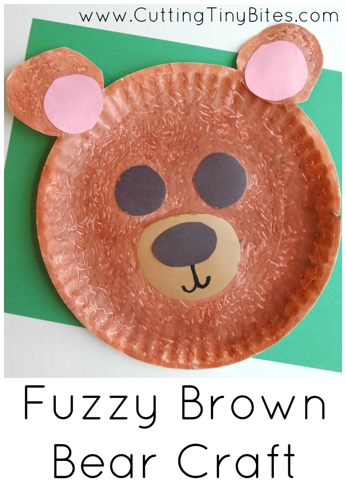 Fuzzy brown bear craft paper and glue crafts for Brown paper bag crafts for preschoolers