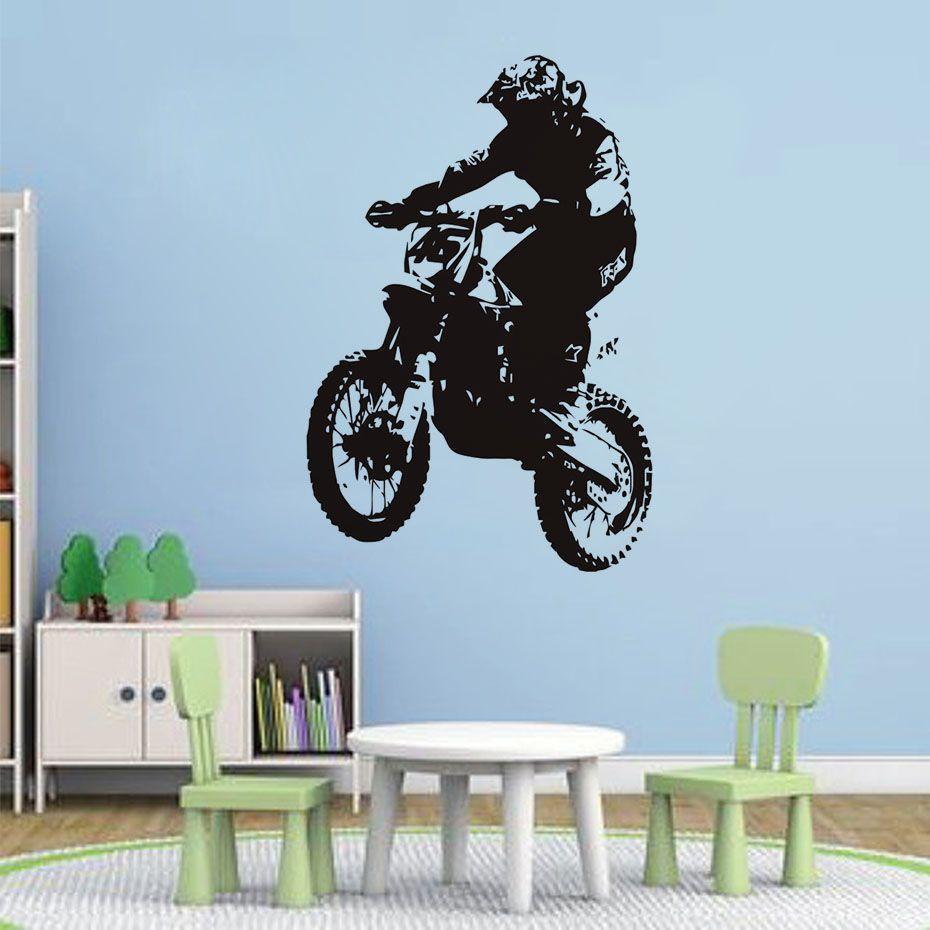 Dirt Bike Rider Vinyl Wall Stickers Home Decor Bedroom Art