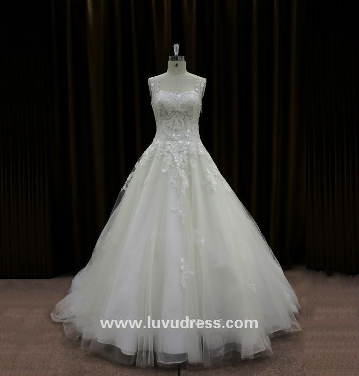 Transparent Neckline Squins Ball Gown Cathedral Royal Train Wedding ...