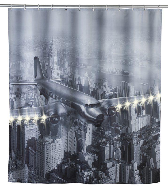 LED Old Plane Single Shower Curtain