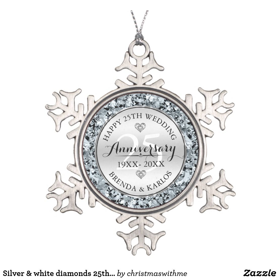 Silver & white diamonds 25th wedding Anniversary Snowflake ...