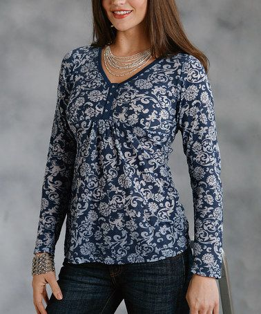 Take a look at this Roper Blue Paisley V-Neck Top - Women by Roper & Ryan Micheals on #zulily today!