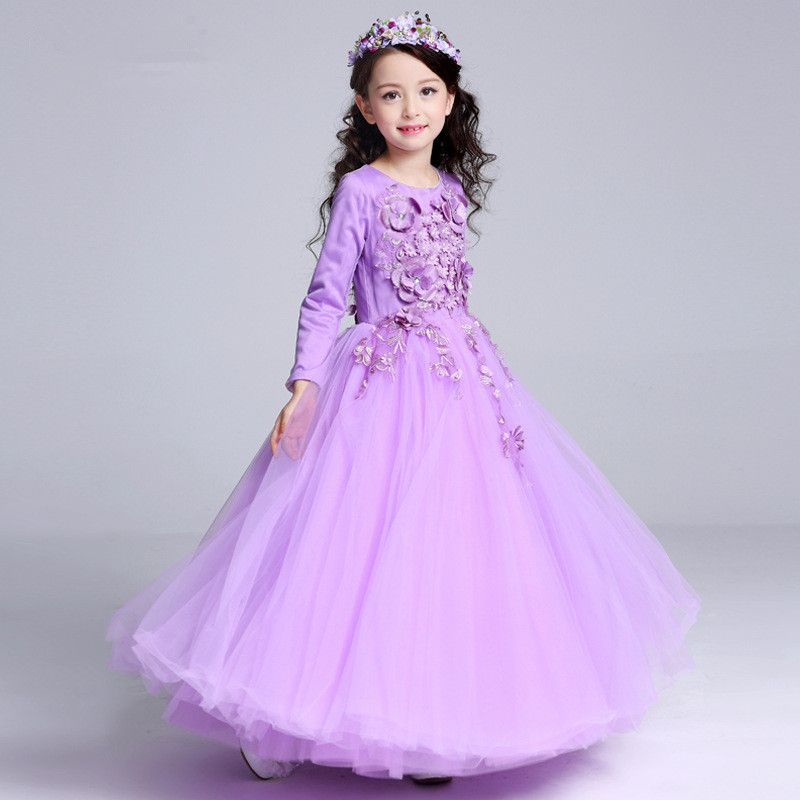 Long Style Girls Dress Latest European Purple Fancy Flowers Princess ...