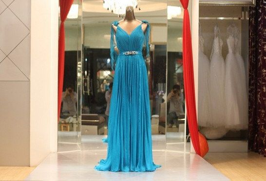 Hey, I found this really awesome Etsy listing at http://www.etsy.com/listing/129711986/custom-made-blue-v-neck-a-line-chiffon