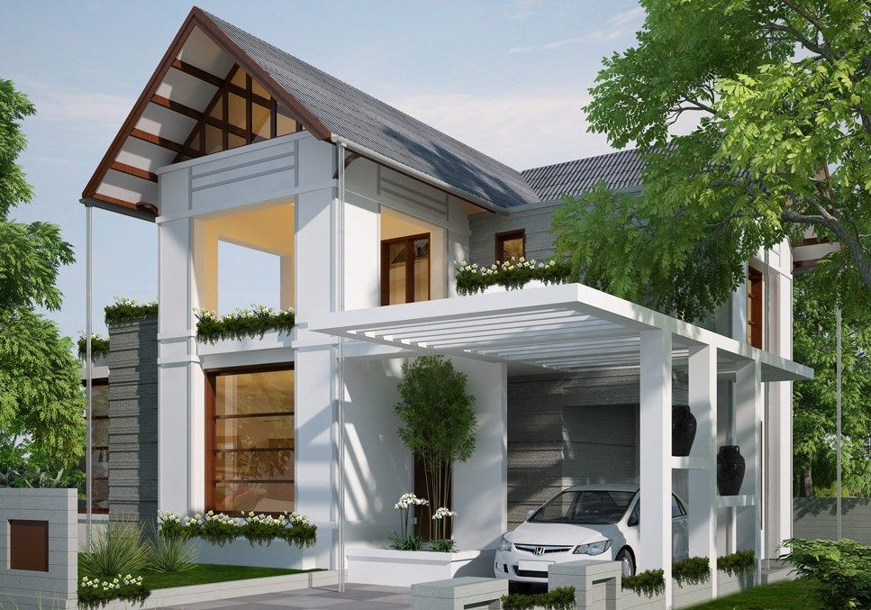 Modern white carport design ideas for minimalist modern for House with carport