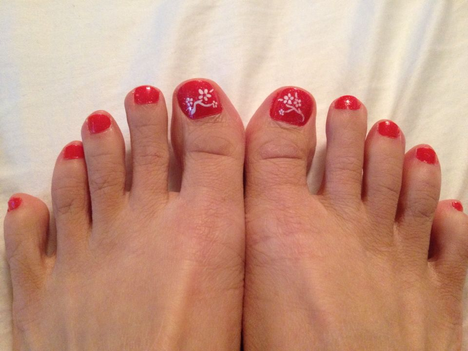 Delicate flowers toenail design for Chinese New Year. | Colour me ...
