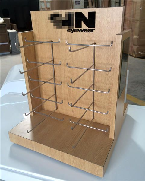 Custom Wooden Countertop Eyeglasses Holder Display Rack Store