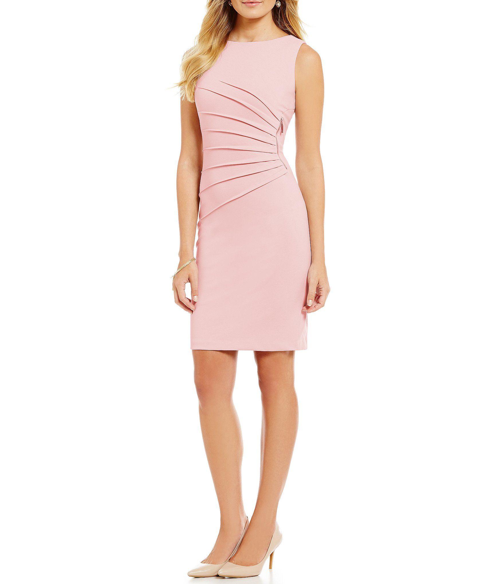 Ivanka Trump Sunburst Pleated Zipper-Trim Ponte Knit Sheath Dress
