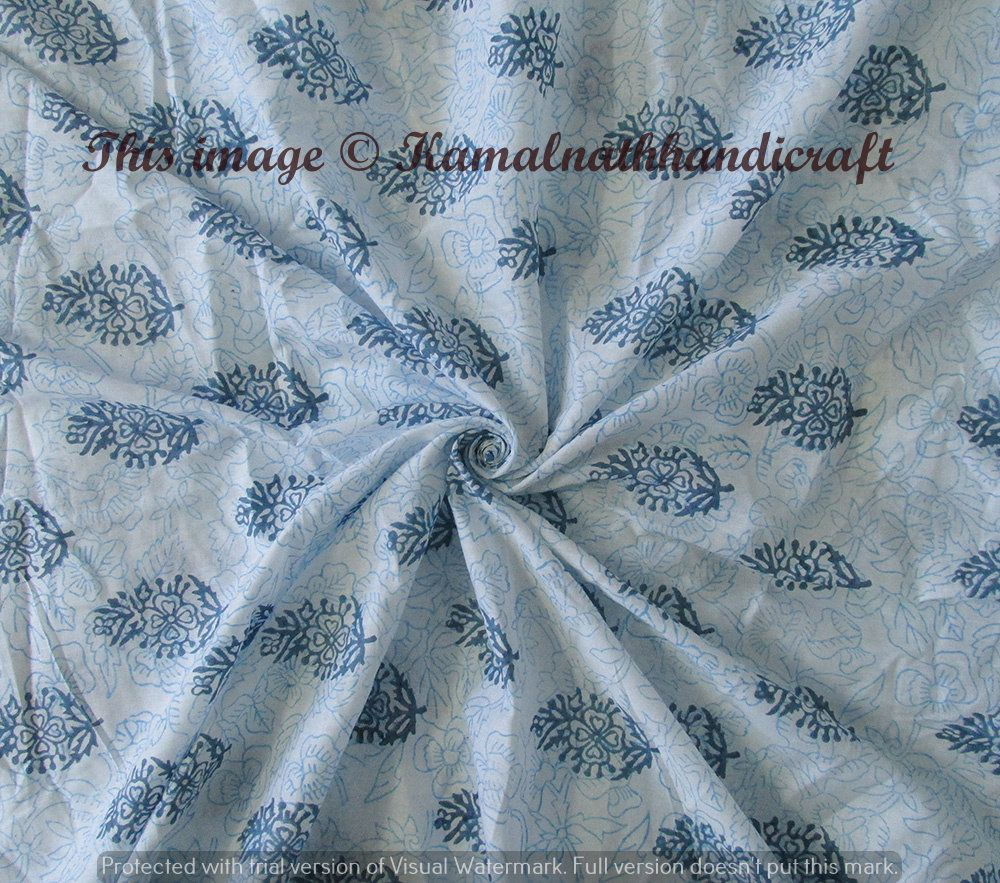 Dressmaking Hand Block Print Cotton Voile Fabric Light Weight Sewing By The Yd