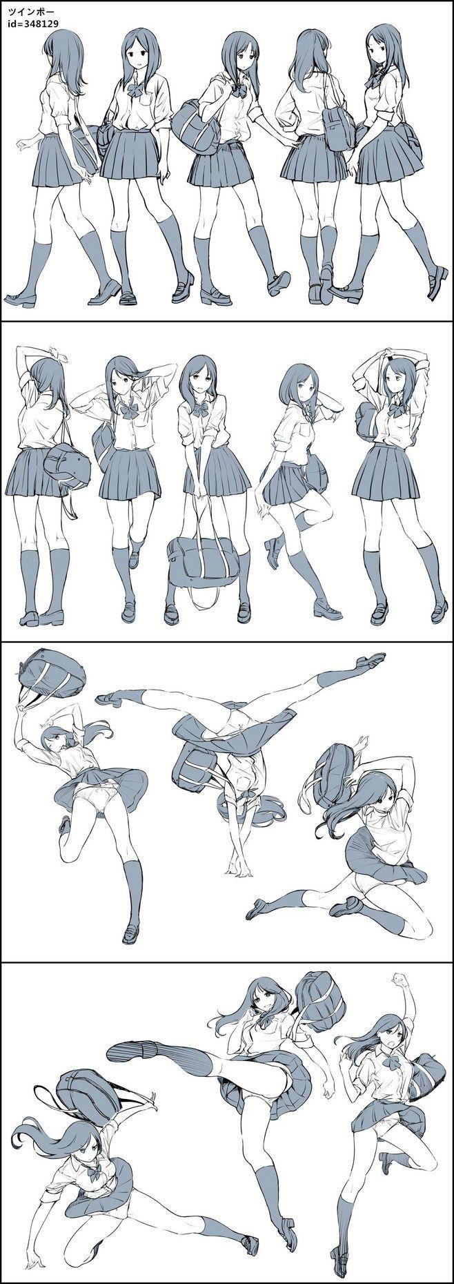 Anime girl colegial pose inspiração