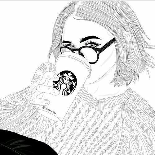 Drawings Of Girls, Drawing Girls, Outline Drawings, Short Hair Girls, Art  Girl, Tumblr Girls, Book, Search, Starbucks