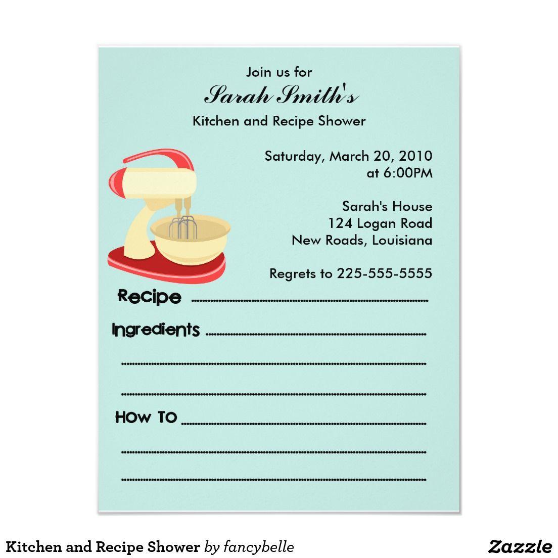 Create your own Invitation   Zazzle.com   Recipe cards ...