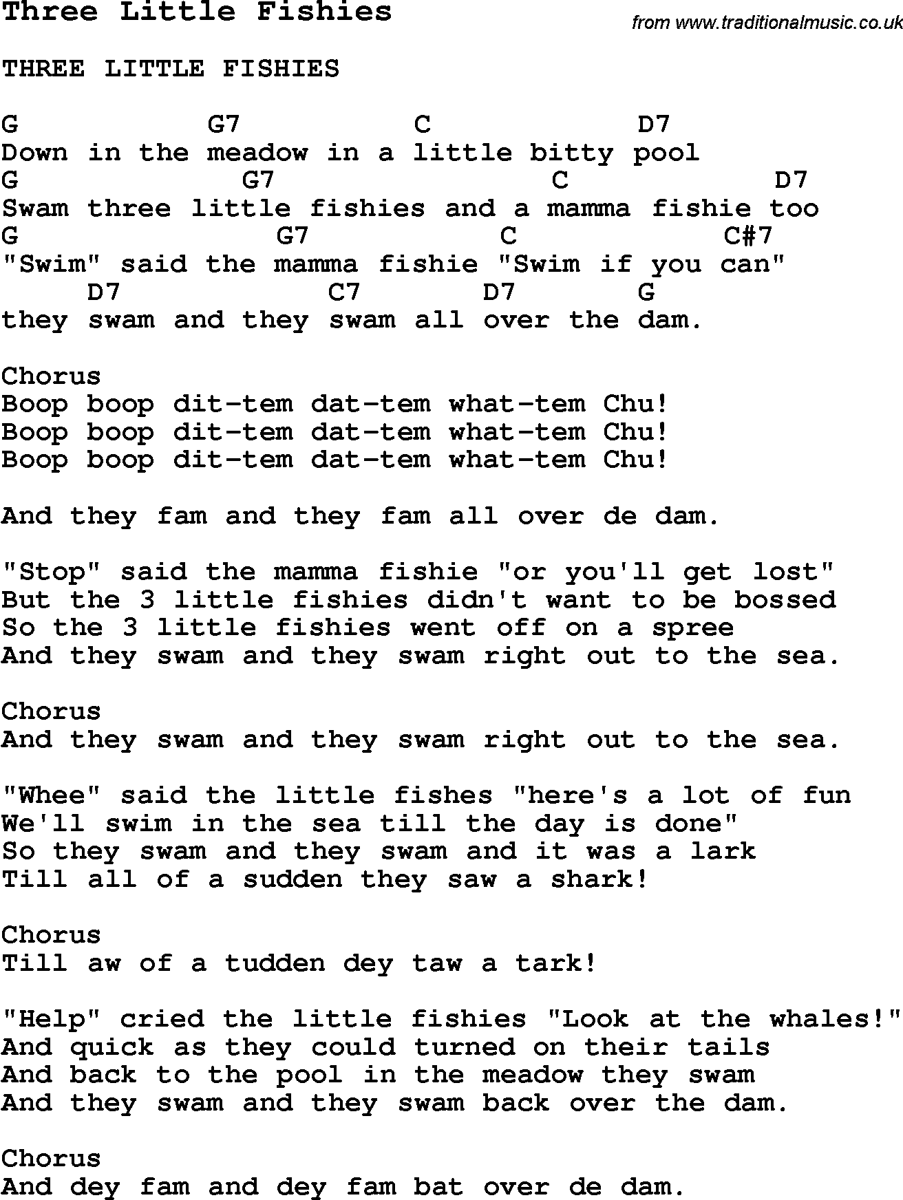 Summer Camp Song Three Little Fishies With Lyrics And Chords For