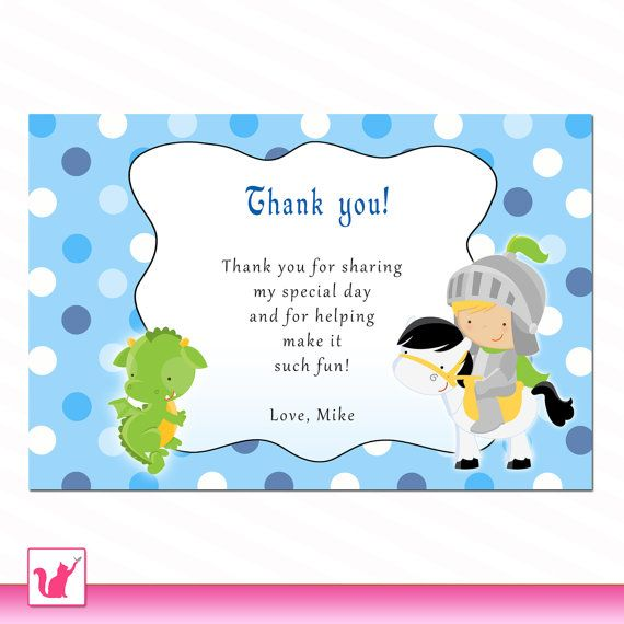 Personalized Any Wording Knight Dragon Polka Dots Thank you Card – Thank You Cards Birthday Wording