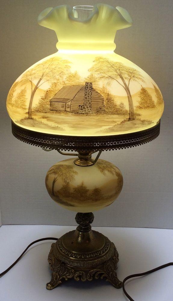 Details About Fenton Burmese Custard Art Glass Parlor Lamp