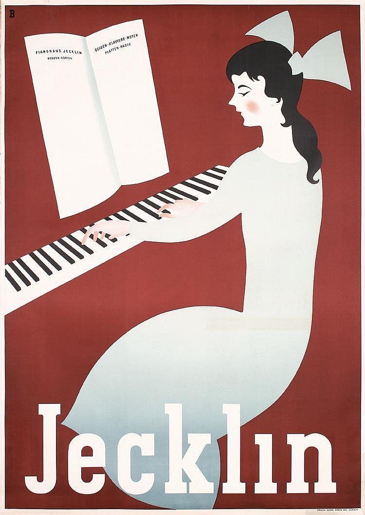 Cute Otto Baumberger piano Jecklin Switzerland