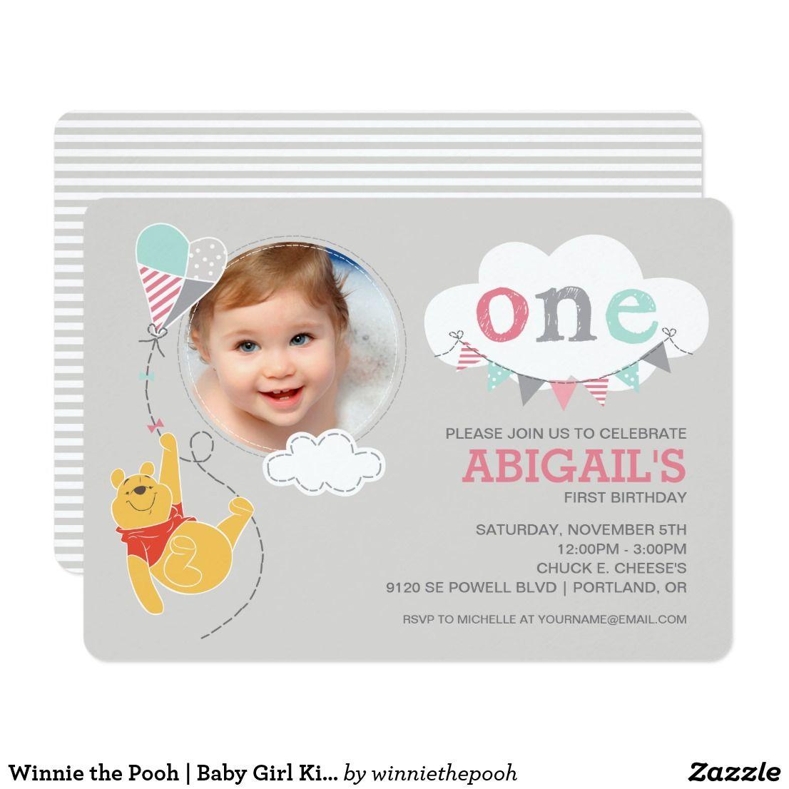 Winnie the Pooh | Baby Girl Kite - First Birthday Invitation ...