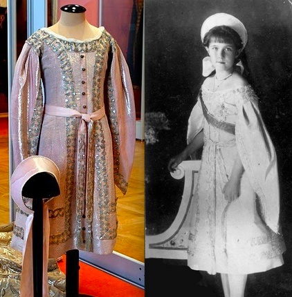 Anastasia's court gown. She wore it in 1910, 8 years before her brutal murder. Today it is on display at her former home, The Alexander Palace.