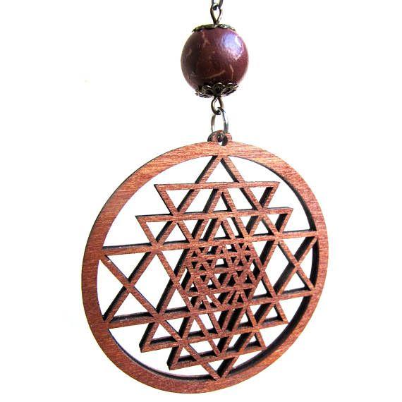 Sri Yantra pendant Customized Wooden Pendant Sacred Geometry