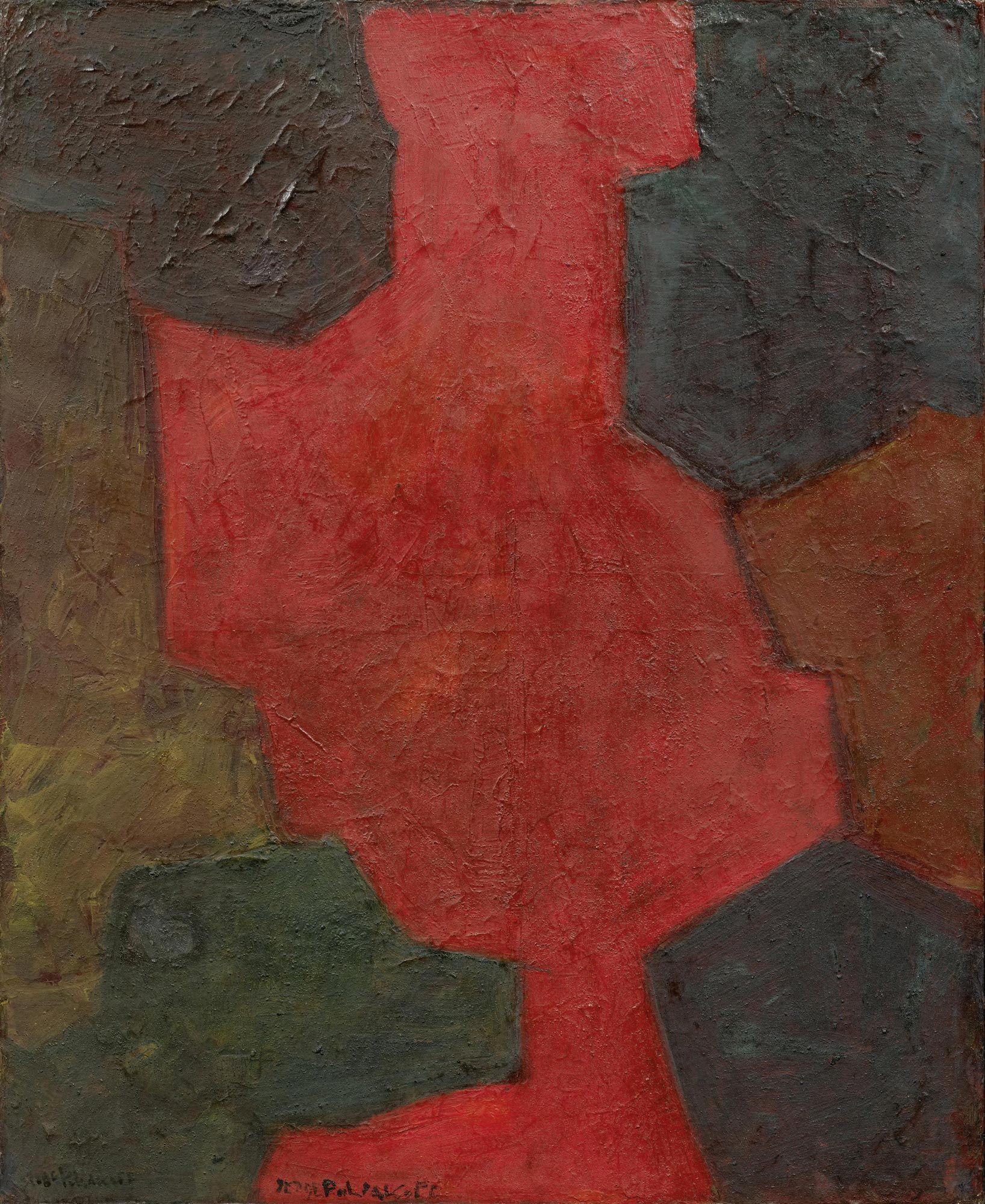 SERGE POLIAKOFF Composition abstraite en rouge et bleu. 1962.