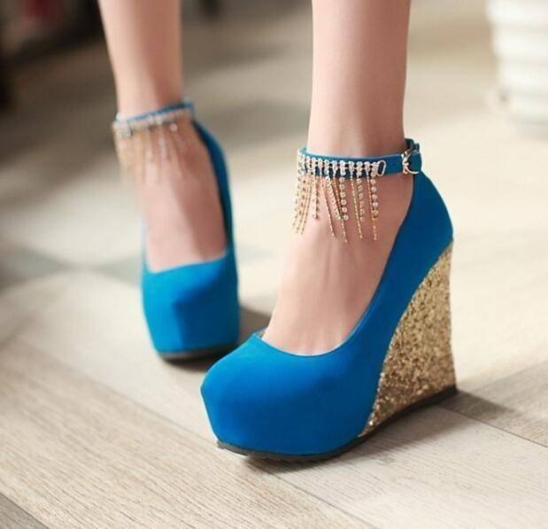 8934d18d4423 2017 Hot Fringe Ankle Strap Womens Hot Platform Shoes High Heels Wedge  Sandals