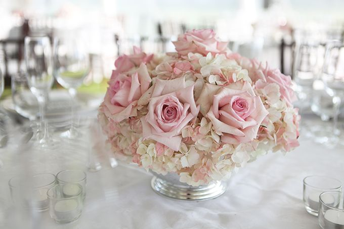 Pink white hydrangea and roses floral arrangements
