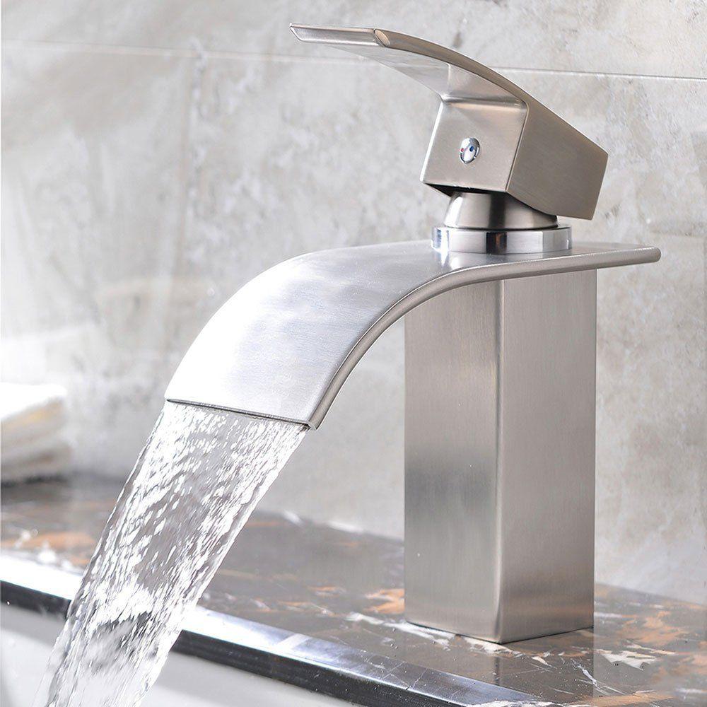Kingo Home Brushed Nickel Single Handle Lavatory Waterfall
