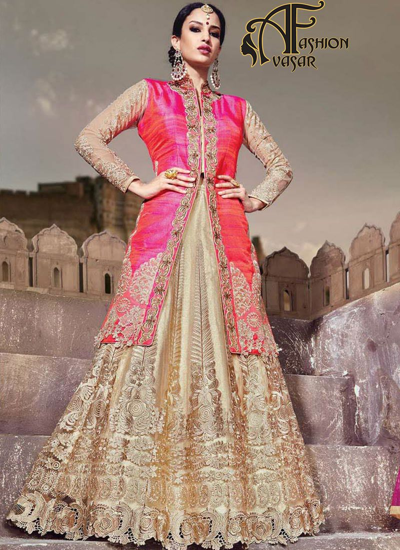 Raw Silk Achkan Style Incredible Unstitched Salwar Kameez.Add a vibrant burst of shade to the wardrobe with this Rose Pink & Coral Raw Silk Unstitched Salwar Kameez. The lovely Patch Work & Lace work a substantial attribute of this attire.