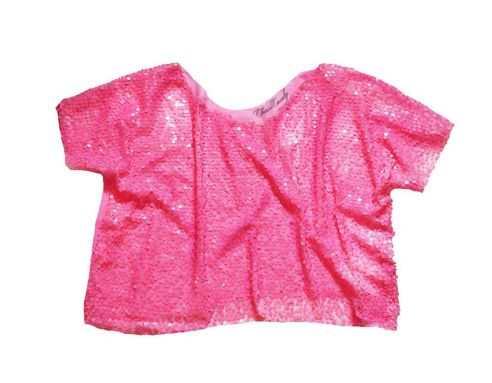 Hot Pink Sequin Meshed Boxy Relaxed Cropped Top T-shirt – ChainCandy