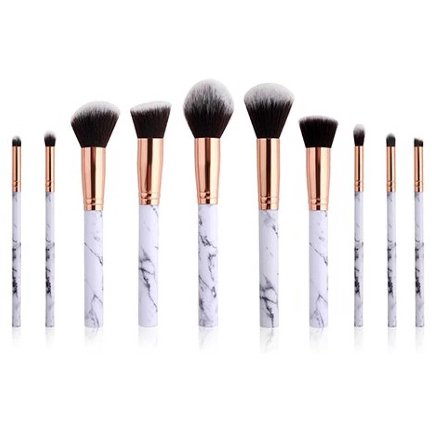 Laixi Beauty 10 Pieces Marble Makeup Brushes Special Marble Pattern Premium Make Up Brush Set Synthetic Kabuki Face Makeup Brush Makeup Brush Set Shadow Brush