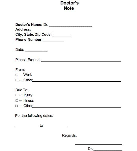 Free Doctors Note Template Doctors Note Template Doctors Note