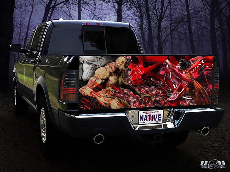 FLAMING SKULLS Tailgate Graphic Decal Sticker Truck Pickup tailgate Wrap vinyl
