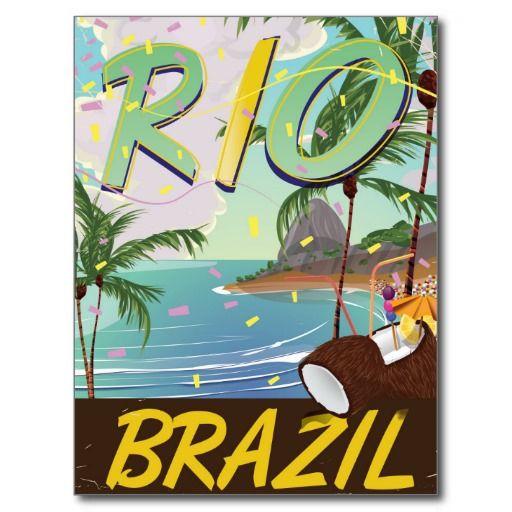 Rio De Janeiro Brazil Retro Travel Print Postcard Zazzle Com