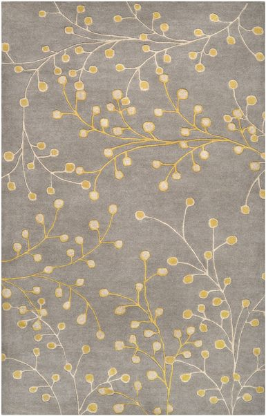 6 Round 410 Gray Rug With Yellow Branch Pattern