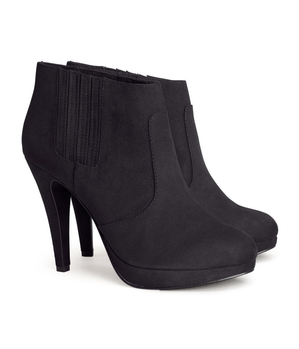 99b5c2ef6475 Black faux suede ankle boots with side panels and platform heels ...
