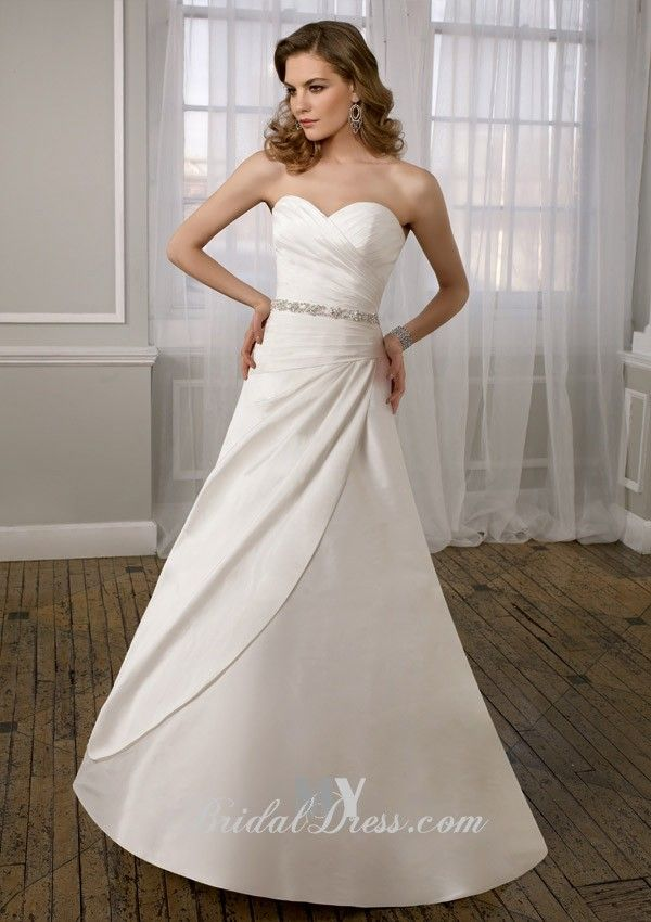 Fresh Beaded Simple A line Wedding Dress of Spring