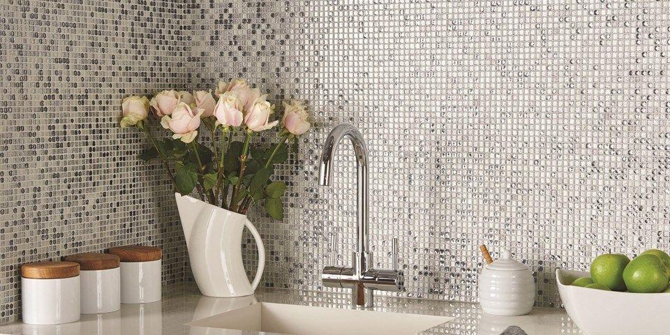 Sparkle Mosaic Kitchen Wall Tiles.