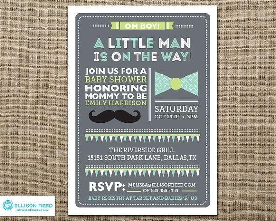 Little Man Baby Shower Invitation - Mustache Baby Shower Invitation - Bowtie Invitation - Boy Baby Shower - Sprinkle Invitation - Printable