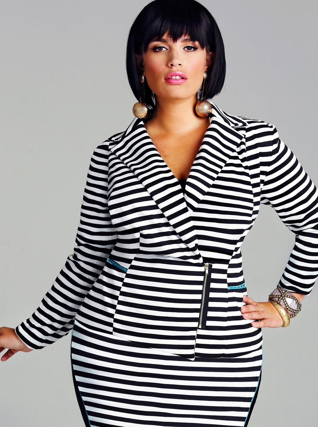 Clementine Desseaux In Veronica Ponte Zipper Front Blazer Stripe Estilos Para Tallas Grandes Estilo De Chica Con Curvas Moda Xxl