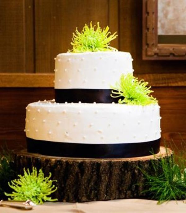 Wedding Cakes: White wedding cake with brown stripes and green flowers