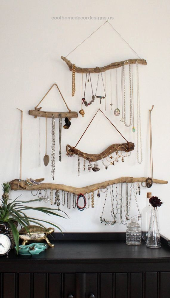 Driftwood Jewelry Display Wall Mounted Jewelry Organizer Necklace