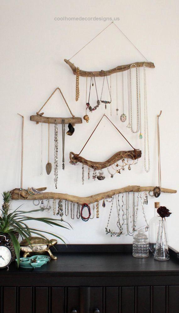 Driftwood Jewelry Display Wall Mounted Jewelry Organizer Necklace