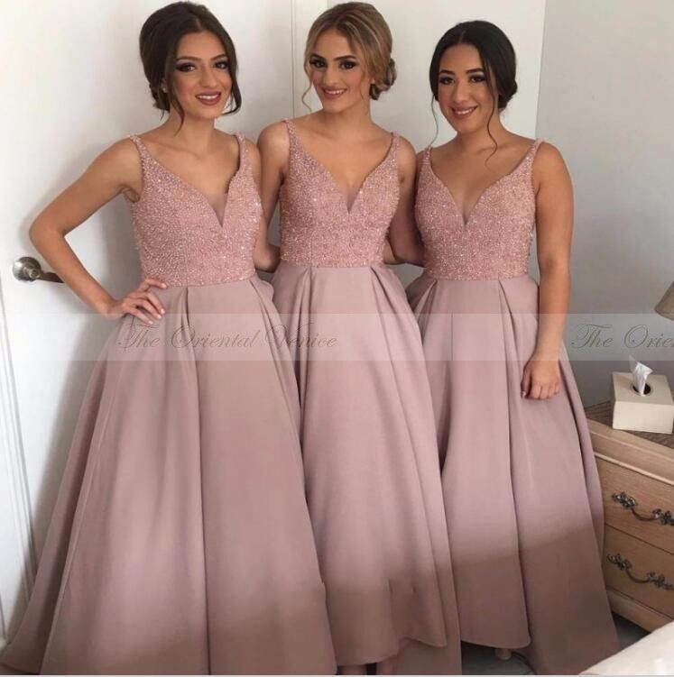 2017 Cheap Blush Pink Beaded Bridesmaid Dresses Deep V-Neck Vestido ...