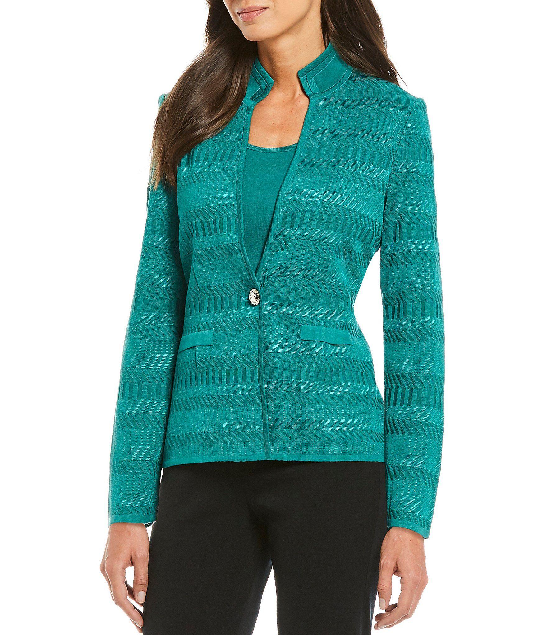 Ming Wang Textured Pattern One-Button Jacket   Dillard's