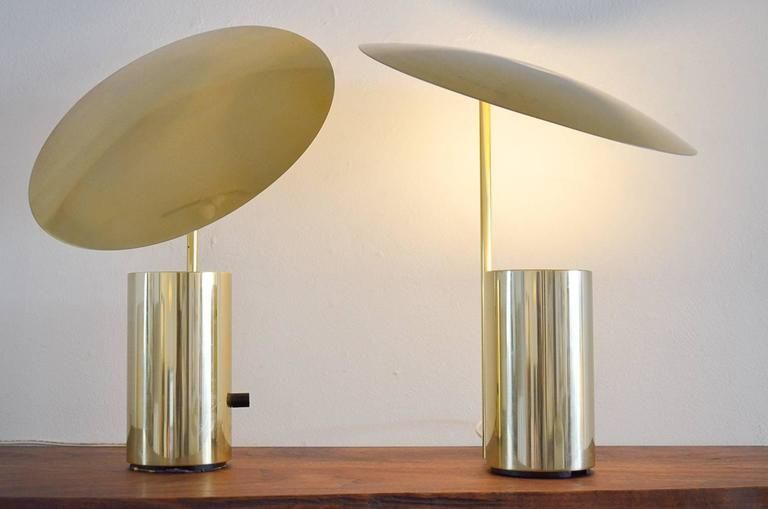 Rare pair of brass george nelson half nelson table lamps george rare pair of brass george nelson half nelson table lamps aloadofball Gallery